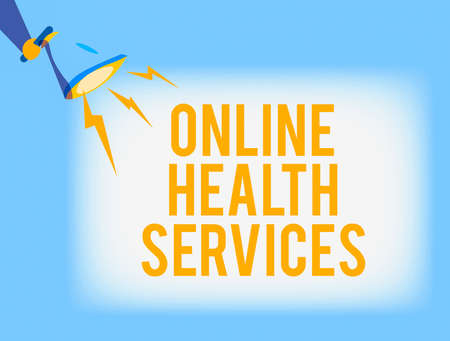 Conceptual hand writing showing Online Health Services. Concept meaning healthcare delivered and enhanced through the internet Hu analysis Holding Megaphone with Lightning Sound Effect