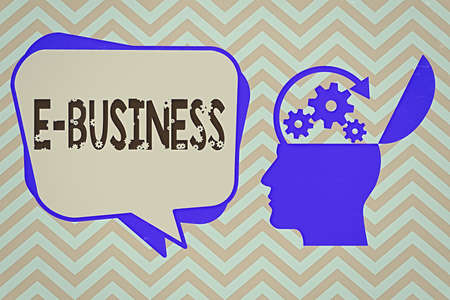 Word writing text E Business. Business photo showcasing the process of conducting commercial transaction over internet Hu analysis Head Silhouette Topside Open with Gears and Blank Halftone Bubble