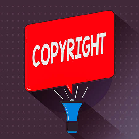 Text sign showing Copyright. Business photo text exclusive legal right to reproduce, publish, sell, or distribute Megaphone Make Voice Louder Handheld Amplifier and Blank Speech Bubble