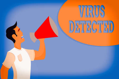 Word writing text Virus Detected. Business photo showcasing a computer program used to prevent and remove malware Man in Shirt Standing Talking Holding a Megaphone Male Calling Out onto Banque d'images