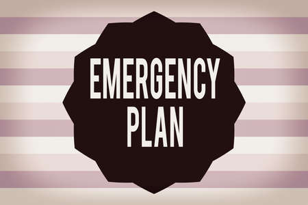 Text sign showing Emergency Plan. Business photo showcasing actions to be conducted in a certain order or manner Twelve 12 Pointed Star shape Dodecagon in Solid Color Zigzag effect Polygon Banque d'images