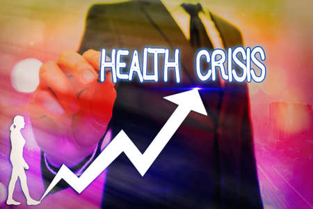 Word writing text Health Crisis. Business photo showcasing fitness problem that affects in more geographic areas Arrow symbol going upward denoting points showing significant achievement Banque d'images