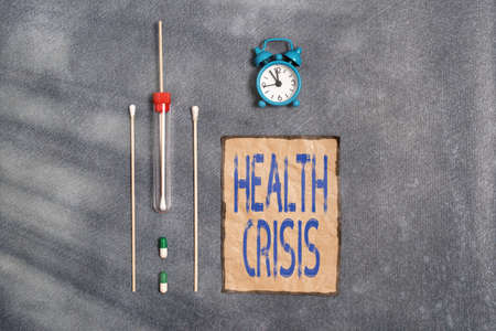 Conceptual hand writing showing Health Crisis. Concept meaning fitness problem that affects in more geographic areas Set of medical equipment for health condition assessment
