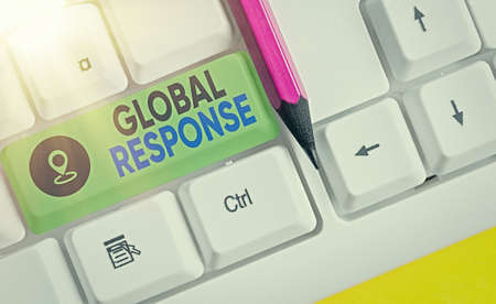 Handwriting text writing Global Response. Conceptual photo indicates the behaviour of material away from impact point Different colored keyboard key with accessories arranged on empty copy space