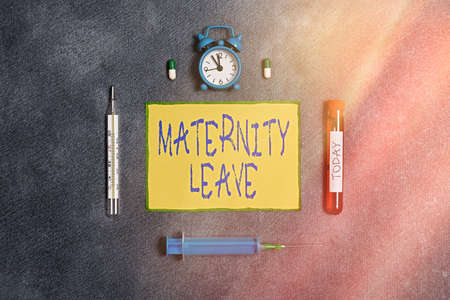 Handwriting text Maternity Leave. Conceptual photo a leave of absence for an expectant or a new mother Extracted blood sample vial with medical accessories ready for examination