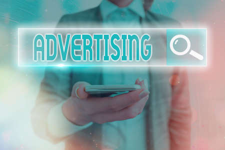 Text sign showing Advertising. Business photo showcasing action of calling attention of the public by paid announcements Web search digital information futuristic technology network connection