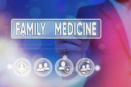 Word writing text Family Medicine. Business photo showcasing comprehensive health care for the individual and family Information digital technology network connection infographic elements icon