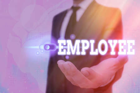 Text sign showing Employee. Business photo text one employed by another usually for wages or salary below the executive Graphics padlock for web data information security application system