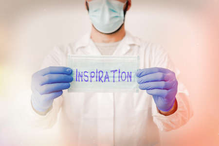 Writing note showing Inspiration. Business concept for the process of being mentally stimulated to do or feel something Laboratory Technician Featuring Sticker Paper Smartphone