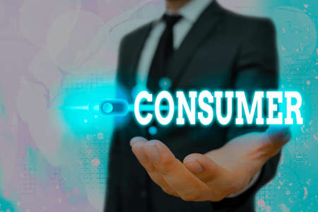 Text sign showing Consumer. Business photo text one that utilizes economic goods that are sold by manufacturers Graphics padlock for web data information security application system