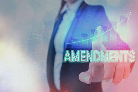 Text sign showing Amendments. Business photo showcasing process of amending a law or document by parliamentary. Arrow symbol going upward denoting points showing significant achievement