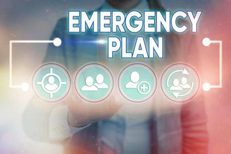 Word writing text Emergency Plan. Business photo showcasing actions to be conducted in a certain order or manner Information digital technology network connection infographic elements icon