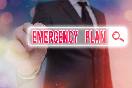 Writing note showing Emergency Plan. Business concept for actions to be conducted in a certain order or manner Web search digital information futuristic technology network connection