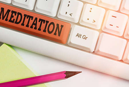 Text sign showing Meditation. Business photo showcasing the discourse intended to express its author s is reflections Different colored keyboard key with accessories arranged on empty copy space