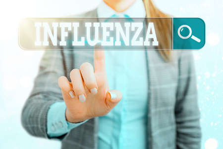 Word writing text Influenza. Business photo showcasing any of various respiratory infections of undetermined cause Web search digital information futuristic technology network connection