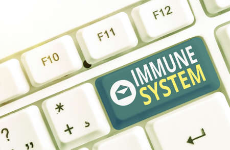 Writing note showing Immune System. Business concept for a bodily system that protects the body from foreign substances Colored keyboard key with accessories arranged on empty copy space