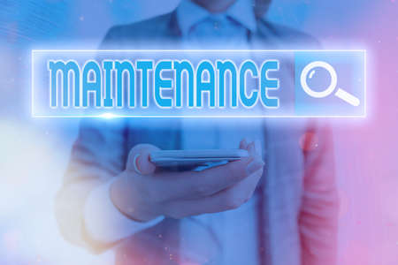 Text sign showing Maintenance. Business photo showcasing the process of maintaining or preserving someone or something Web search digital information futuristic technology network connection