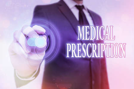 Writing note showing Medical Prescription. Business concept for healthcare program implemented by a physician Graphics padlock for web data information security application system