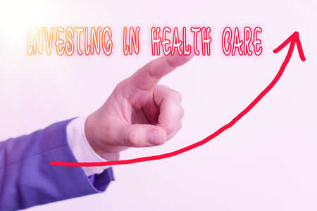 Handwriting text Investing In Health Care. Conceptual photo put money on maintenance or improvement of health digital arrowhead curve rising upward denoting growth development concept