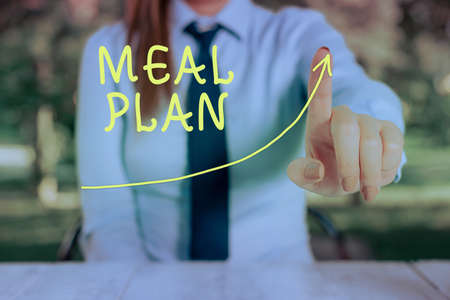 Conceptual hand writing showing Meal Plan. Concept meaning act of taking time to plan any number of meals for the week Digital arrowhead curve denoting growth development concept