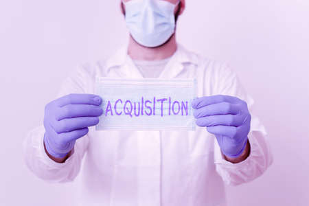 Writing note showing Acquisition. Business concept for asset or object bought or obtained, typically by a library Laboratory Technician Featuring Sticker Paper Smartphone