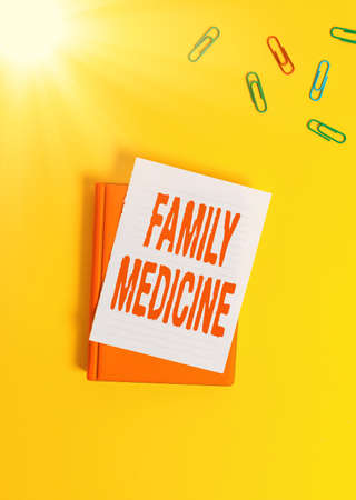Text sign showing Family Medicine. Business photo text comprehensive health care for the individual and family Paper clips with blank papers for text messages