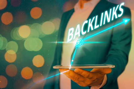 Word writing text Backlinks. Business photo showcasing links from one website to a page on another website or page Arrow symbol going upward denoting points showing significant achievement
