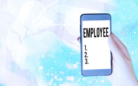 Word writing text Employee. Business photo showcasing one employed by another usually for wages or salary below the executive Modern gadgets with white display screen under colorful bokeh background