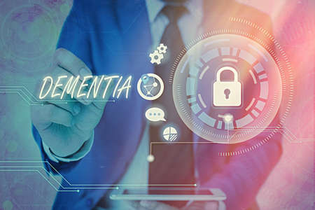 Word writing text Dementia. Business photo showcasing usually, a progressive condition marked by multiple deficits Graphics padlock for web data information security application system