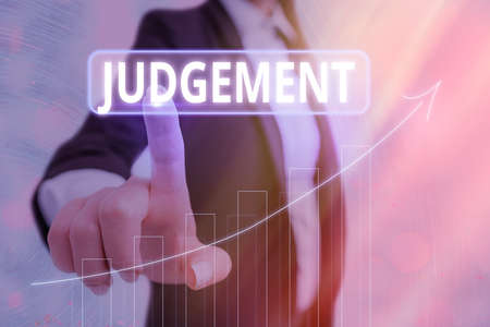 Text sign showing Judgement. Business photo showcasing process of forming an evaluation by discerning and comparing Arrow symbol going upward denoting points showing significant achievement