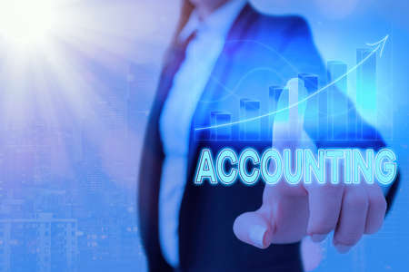 Text sign showing Accounting. Business photo showcasing system of summarizing business and financial transactions Arrow symbol going upward denoting points showing significant achievement