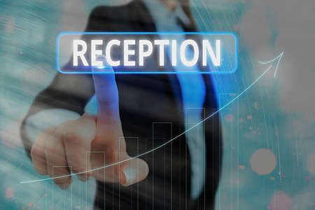 Text sign showing Reception. Business photo showcasing social gathering often for the purpose of extending a welcome Arrow symbol going upward denoting points showing significant achievement