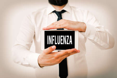 Writing note showing Influenza. Business concept for any of various respiratory infections of undetermined cause Model displaying black screen modern smartphone mock-up