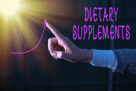 Writing note showing Dietary Supplements. Business concept for product intended to supplement the diet taken orally Digital arrowhead curve denoting growth development concept