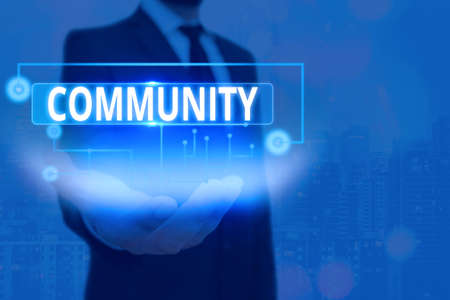 Text sign showing Community. Business photo text with a common characteristic or interest living together Information digital technology network connection infographic elements icon