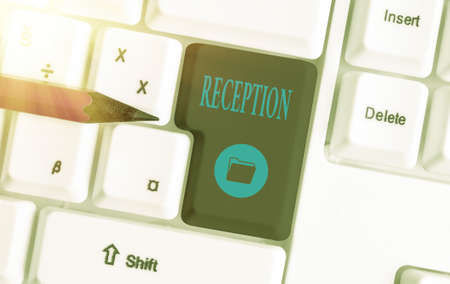 Text sign showing Reception. Business photo showcasing social gathering often for the purpose of extending a welcome Different colored keyboard key with accessories arranged on empty copy space