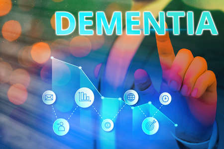 Word writing text Dementia. Business photo showcasing usually, a progressive condition marked by multiple deficits Arrow symbol going upward denoting points showing significant achievement