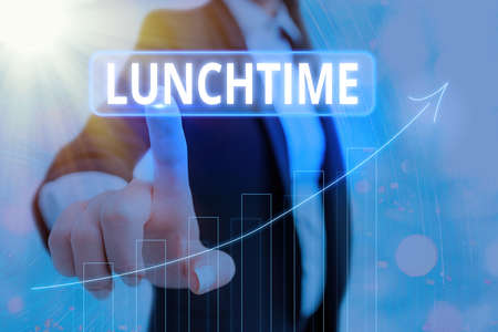 Text sign showing Lunchtime. Business photo showcasing the time at which lunch is usually eaten : NOON, 12 o clock Arrow symbol going upward denoting points showing significant achievement