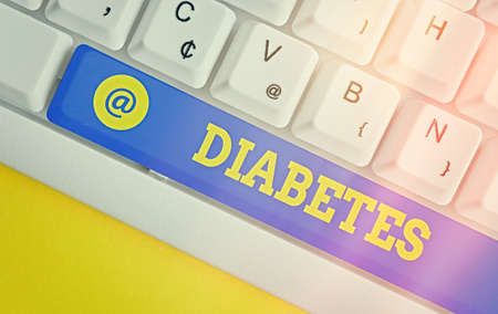 Writing note showing Diabetes. Business concept for any of various abnormal conditions characterized by excretion Colored keyboard key with accessories arranged on empty copy space