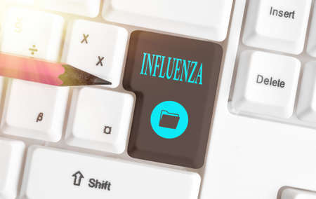 Text sign showing Influenza. Business photo showcasing any of various respiratory infections of undetermined cause Different colored keyboard key with accessories arranged on empty copy space