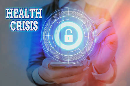 Handwriting text Health Crisis. Conceptual photo fitness problem that affects in more geographic areas Graphics padlock for web data information security application system