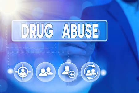 Word writing text Drug Abuse. Business photo showcasing the habitual taking of use of prescription or illegal drugs Information digital technology network connection infographic elements icon