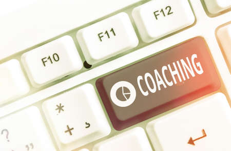 Text sign showing Coaching. Business photo text to instruct, direct, or prompt as a coach to subordinates Different colored keyboard key with accessories arranged on empty copy space