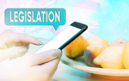 Word writing text Legislation. Business photo showcasing the exercise of the power and function of making rules Modern gadgets with white display screen under colorful bokeh background