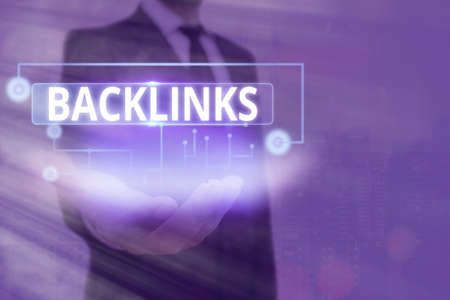 Text sign showing Backlinks. Business photo text links from one website to a page on another website or page Information digital technology network connection infographic elements icon