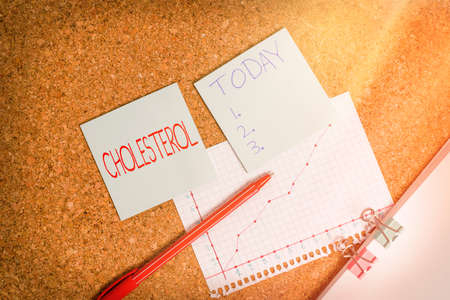 Conceptual hand writing showing Cholesterol. Concept meaning compound of the sterol type found in most body tissues Desk notebook paper office paperboard study supplies chart