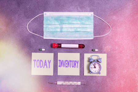 Handwriting text writing Inventory. Conceptual photo list of traits, preferences, attitudes, interests, or abilities Extracted blood sample vial with medical accessories ready for examination Фото со стока