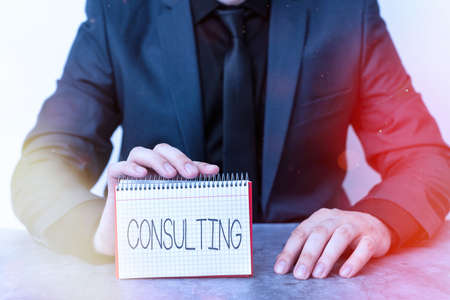 Conceptual hand writing showing Consulting. Concept meaning business of giving expert advice typically in business matters Model displaying different color notepad mock-up for writing idea