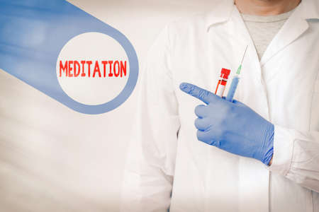 Text sign showing Meditation. Business photo showcasing the discourse intended to express its author s is reflections Displaying Empty Sticker Paper Accessories Smartphone With Medical Gloves On 스톡 콘텐츠
