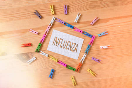 Writing note showing Influenza. Business concept for any of various respiratory infections of undetermined cause Colored clothespin papers empty reminder wooden floor background office 版權商用圖片